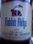 Picnic Wine - 2009 Rabbit Ridge Rhone Style Red Wine - Allure de Robles